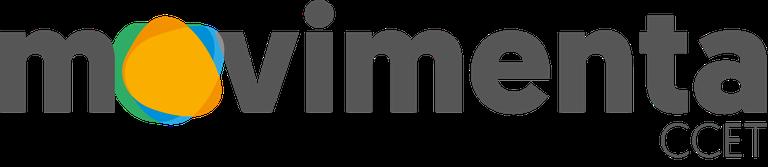 A imagem contém o logotipo do programa movimenta CCET sendo que no lugar da letra o existem três átomos em movimentos que representam o tripé da universidade.