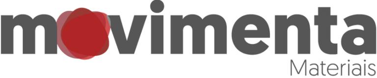 A imagem contém o logotipo do programa movimenta Materiais sendo que no lugar da letra o existem três átomos em movimentos que representam o tripé da universidade.