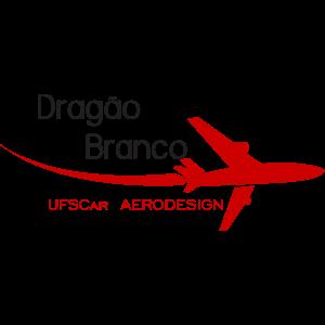 A imagem contém um avião vermelho voando e soltando fumaça e representa o logotipo da equipe Dragão Branco.