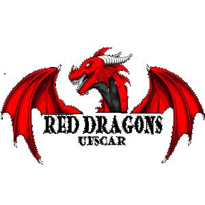 A imagem contém o busto de um dragão vermelho com a cabeça virada para o lado esquerdo e o nome Red Dragons UFSCar grafado na parte de baixo.